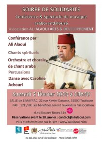 """SOIRÉE DE SOLIDARITÉ Conférence """"histoire de la musique arabo-andalouse"""" / Spectacle musique et danse @ FRANCE/TOULOUSE/ Salle de Limayrac"""