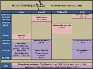 RENTRÉE 2021-22 ÉCOLE DE MUSIQUE ALI ALAOUI @ FRANCE/TOULOUSE / Maison de Quartier La Vache et studio Cesame